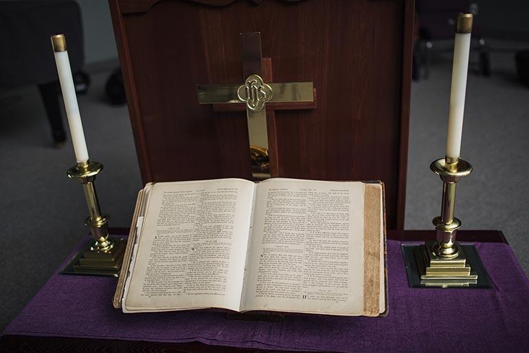 McCutchanville Community Church Pulpit & Bible